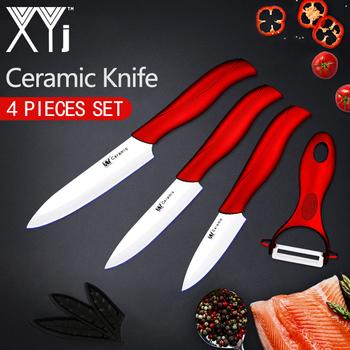 XYj ceramiczny nóż zestaw przyborów do gotowania 3 #8222 4 #8221 5 #8222 calowy szef kuchni nóż zestaw do gotowania + obieraczka biały czarny i ostrze wielokolorowy uchwyt narzędzia kuchenne tanie i dobre opinie Cztery częściowy zestaw Ce ue Lfgb Zestawy noży Ekologiczne Paring Utility Slicing 3 inch 4 inch 5 inch White or Black