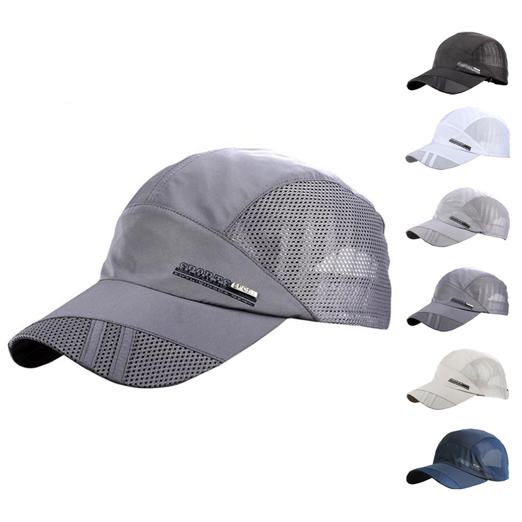 Breathable Mesh Sun Hats Cap Quick Drying Hats For Men Blue Gray