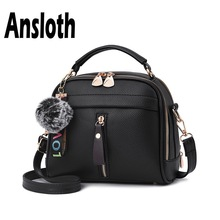 Ansloth Small Square Bags For Women Hairball Shoulder Lady Zipper Messenger Female Winter Crossbody HPS724