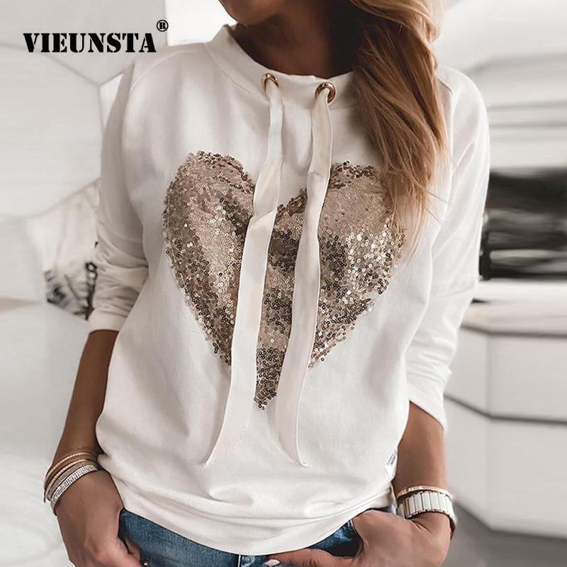 Women Sequins Lips Print Fashionable Sweatshirt Autumn Leopard Long Sleeve Beading Hoodie Lady O-neck Kawaii Sweatshirt Hoodies