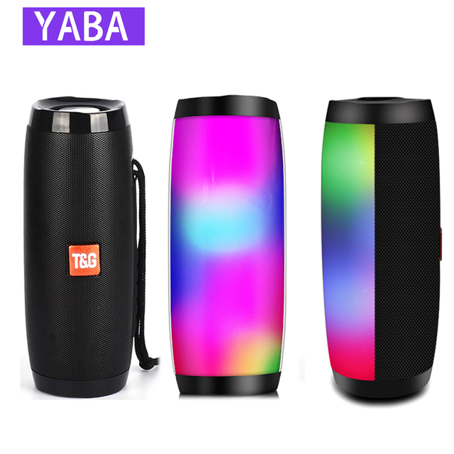 Portable Speaker Bluetooth-compatible Column Wireless  Speaker Outdoor Bass HIFI TF FM Radio soundbar with LED caixa de som 1