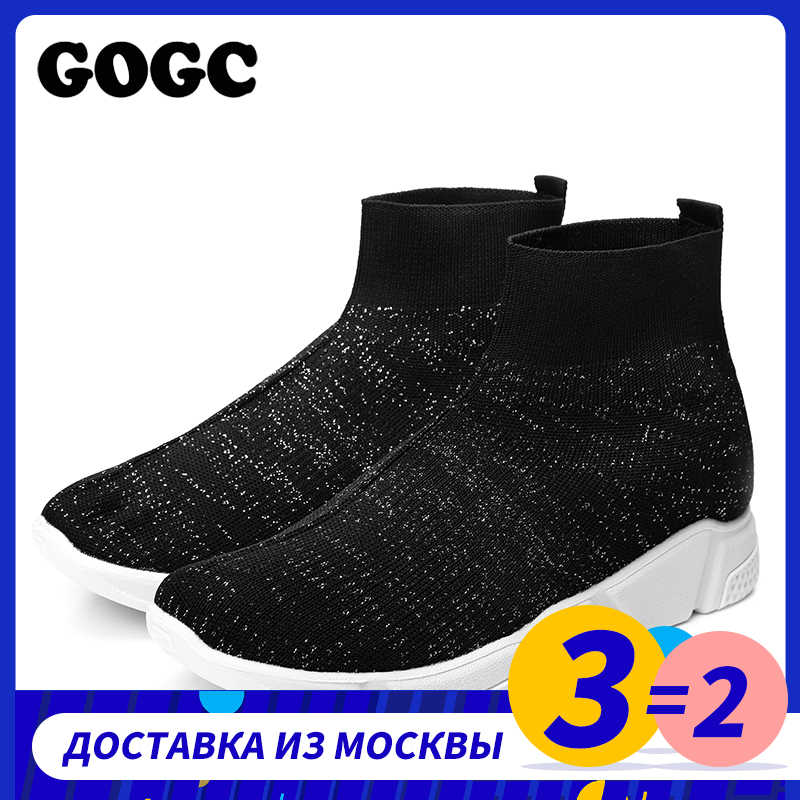 GOGC ฤดูร้อนผู้หญิงรองเท้าผ้าใบผู้หญิงถัก Breathable รองเท้าบูทถุงเท้าผู้หญิง Chunky รองเท้ารองเท้าบินทอ G804