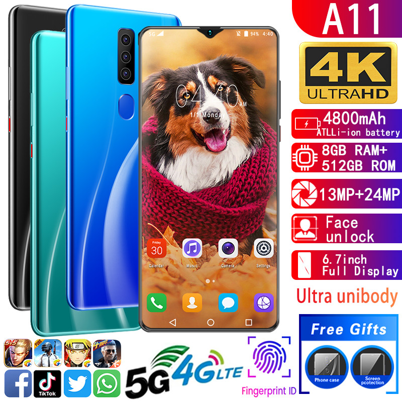 Mobile Phone A11 Unlocked Cell Phones MTK6799 Cell Phones Deca Core 6.7inch Cellphone 1440*3040 Smartphone 8GB+512GB 13MP+24MP