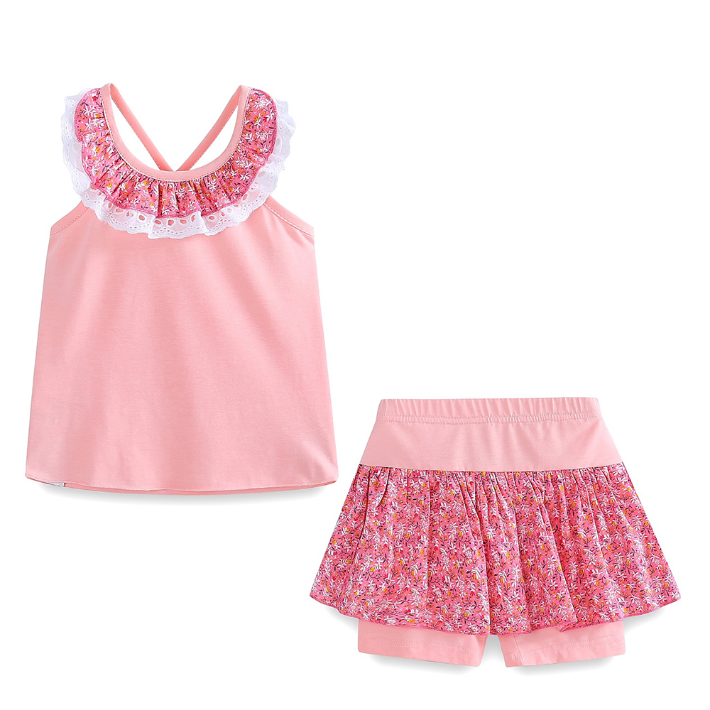 Mudkingdom Floral Summer Girls Outfits Backless Lace Collar Tops and Short Culottes Holiday Clothes for Kids 6