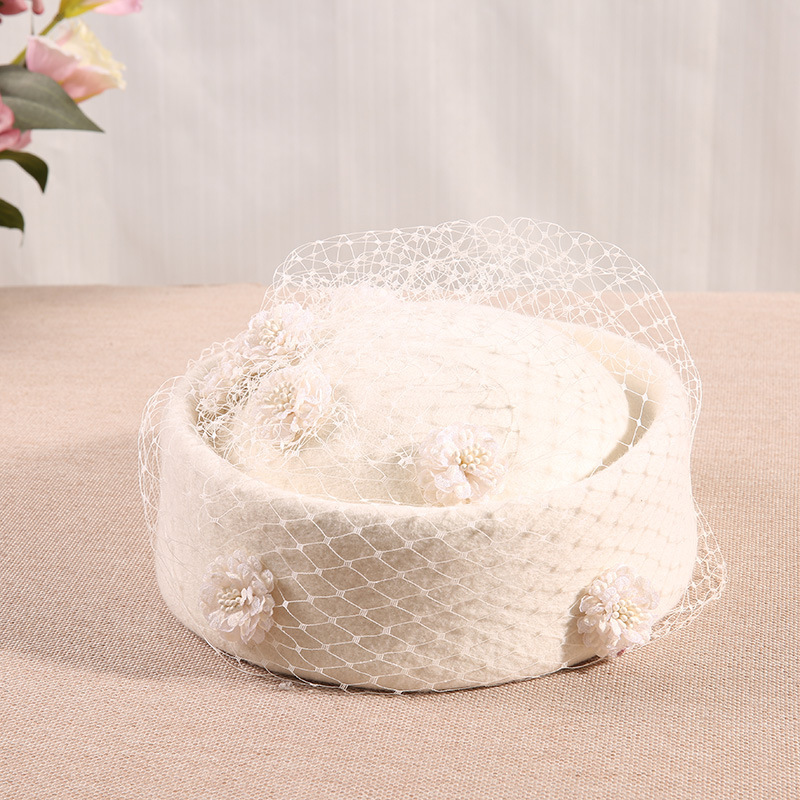 Fedoras Hat White Fascinator Hats For Church Woman Hat Women Elegant Cap Wedding Woman Hat Wool Fashion Elegant Hair Accessories