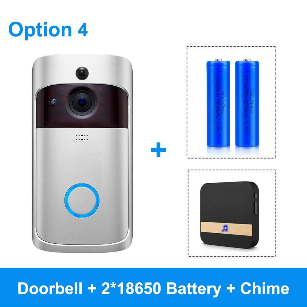 Смарт-видео, дверной звонок Беспроводная камера Wi-Fi для дверного звонка 720P Домашняя безопасность ip-интерком дверь телефон с питанием от аккумулятора PIR сигнализация облако - Цвет: Option 4