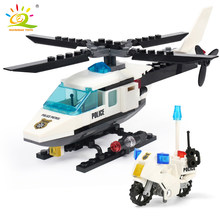 City Police Air Force plane motorcycle Building Block Legoing model Bricks set Helicopter street bike Toys for children Boy Gift(China)