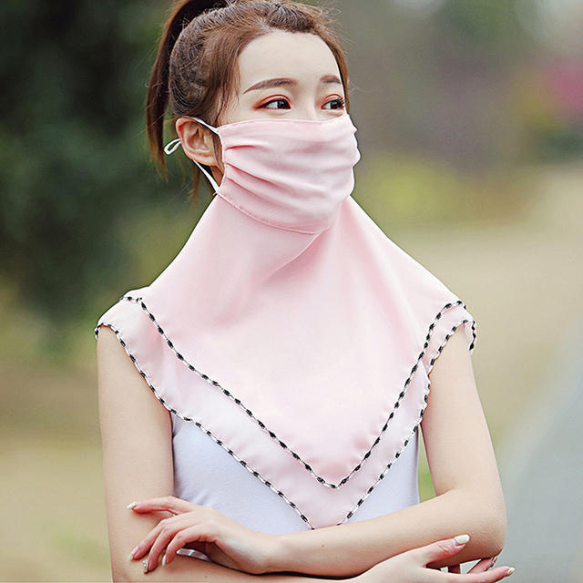 Fashion Woman Printing Mask High Quality Chiffon Neck Protection Breathable Mask Solid Color Sunscreen Mask For Cycling