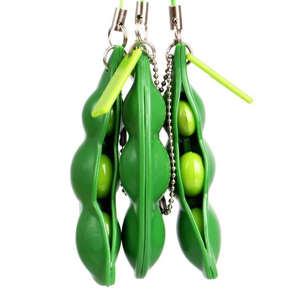 Keychain Bean Focus-Toy Fidget Pea-Stress Improve Squeeze Edamame Squishy Relief Key-Pendant img2
