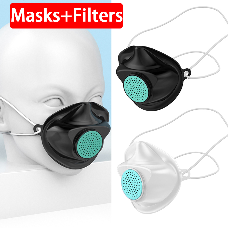 Filters + Replaceable Non-disposable Mouth Safety Face Mask Anti Dust Air Pollution Gas Pm2.5 Influenza Bacteria Flu Care Masks