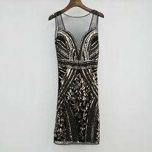 V Neck Sleeveless Sequin Fringe Art Deco Dress Sexy Perspective Reveal Back Full Dress Luxurious Lady  Quality Skirt Suit-dress plus embroidered fringe tie neck dress