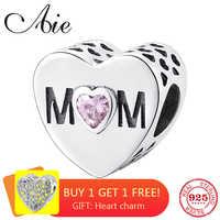 Heart shape 925 Sterling Silver fashion hollow out MOM pink CZ fine Bead Fit Original Pandora Charm Bracelet Jewelry making