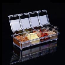 Kitchen Gadgets Seasoning Box Spice Rack Organizer Sugar Bowl Salt Shaker Seasoning Container Spice Boxes With Spoons Storage