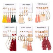Женские серьги с кисточками в стиле бохо 6 пар сережек европейском
