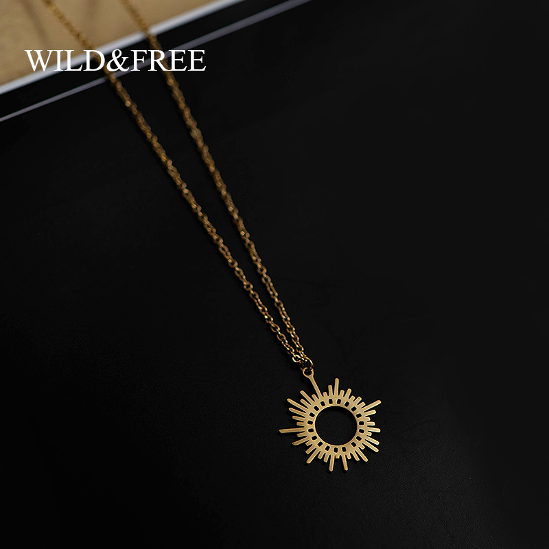 Wild&Free Gold Circle Irregular Sun Necklace For Women Stainless Steel Hollow Out Round Sweater Pendant Necklaces Jewelry Gift