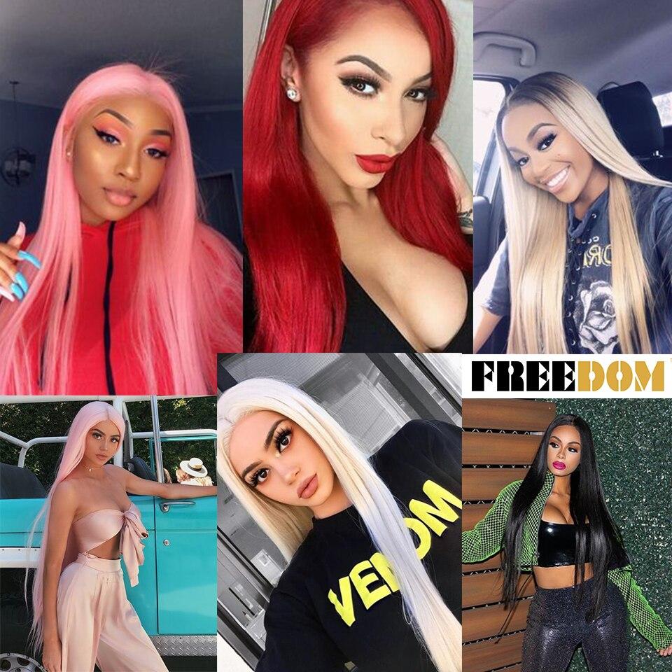 FREEDOM-peluca con malla frontal sintética para mujer peluca larga y recta de 38 pulgadas con parte profunda, Cosplay, degradado, encaje sintético