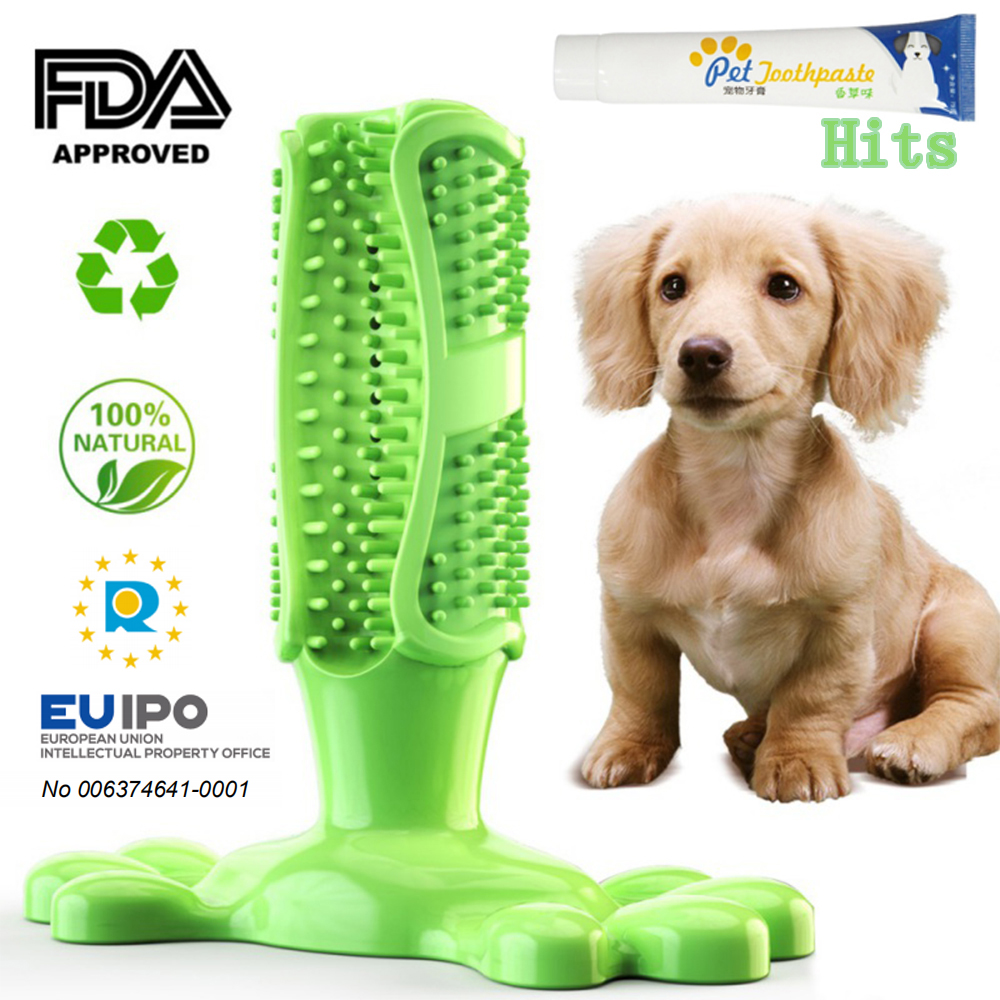 Pet Dog Toothbrush Stick Doggy Chew Toys Brush Soft Rubber Teeth Cleaning Massage Toothpaste For Small Dogs Pets Oral Care Tooth image