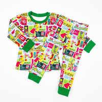 2-8Y boże narodzenie chłopiec piżamy małe dziewczynki boże narodzenie Pjs dzieci zimowe ubrania dla dzieci chłopcy bielizna nocna Xmas Grinch piżamy zestaw
