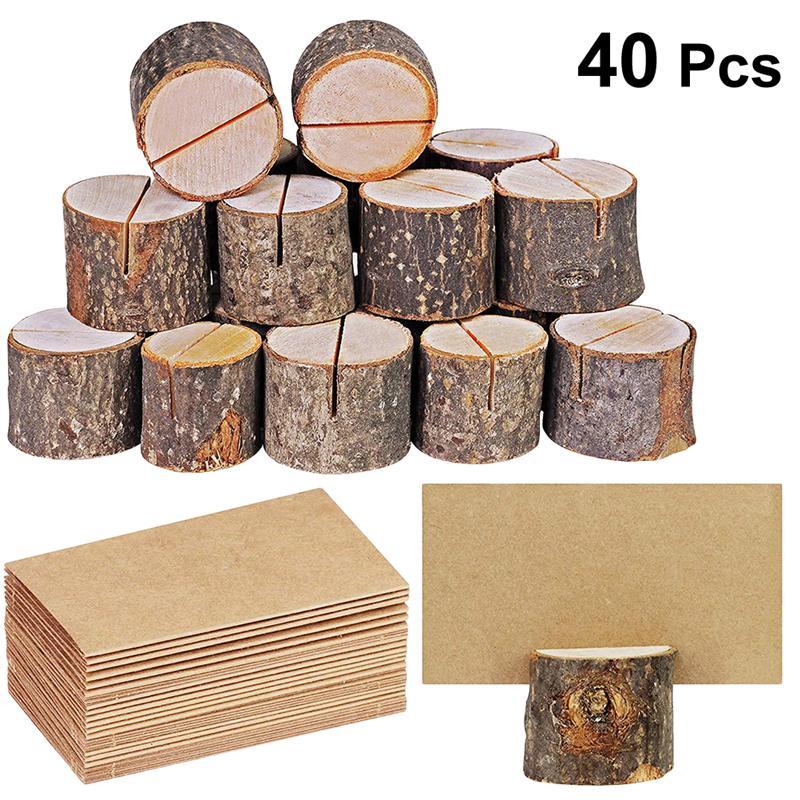 20 Sets Wood Pile Name Place Card Photo Holders Wooden Bark Memo Holder Stump Shape Menu Number Memo Stand Wedding Party Decor