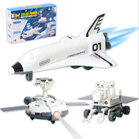 3 in 1 Solar Toy Puzzle DIY Space Shuttle Lunar rover space station Developmental toys Plastic Christmas Gfit foy kid