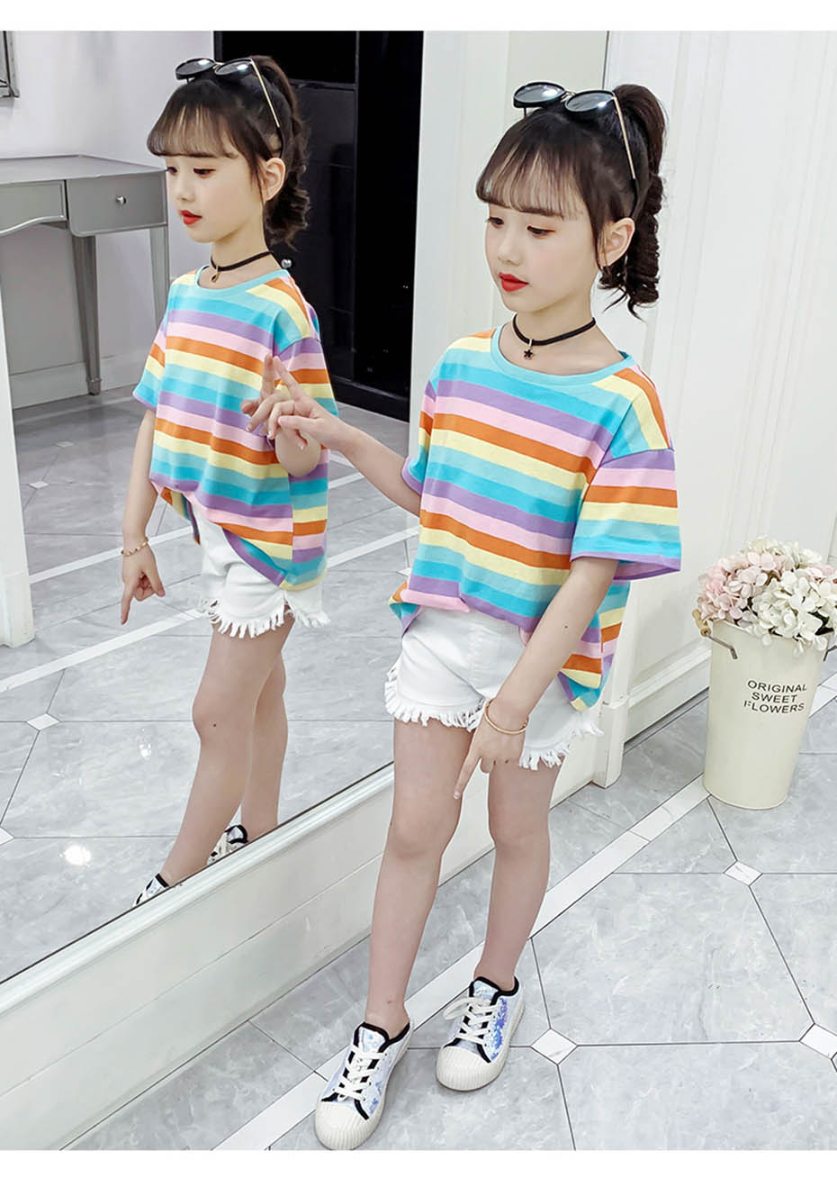 Children's T-shirts Rainbow Stirped Girls Summer Top Casual Style Child T-shirt O Neck Kids Clothing 6 8 10 12 14