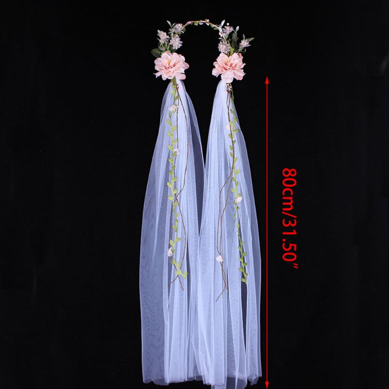Baroque Rose Head Veil Hand Woven White Bride Wedding Dress Women Lady Wreath Headdress