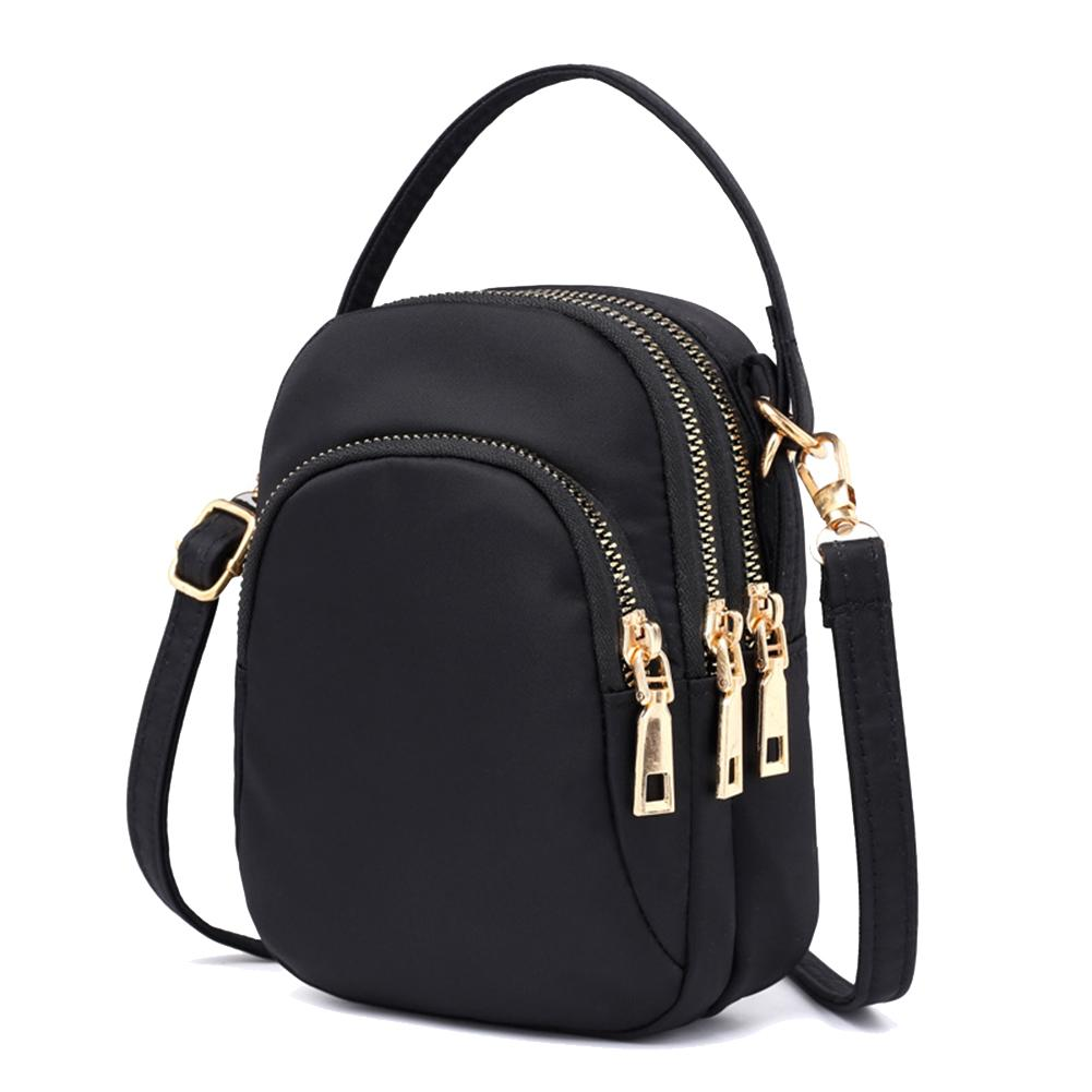 Women Travel Pouch Tote Crossbody Shoulder Nylon Bag with Earphone Hole