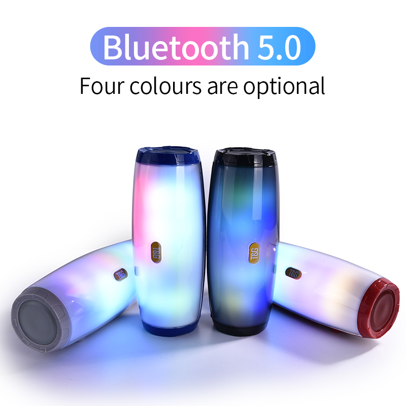 TG 165 LED Light Bluetooth Speaker Stereo Column 5 Flash Style LED Subwoofer Outdoor Music Box FM Radio For Camping Sport Portable Speakers     - title=