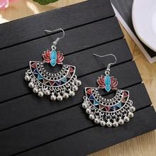 Fashion Beads Tassel Indian Jhumka Earrings For Women Ethnic Vintage Lotus Bollywood Oxidized Dangle