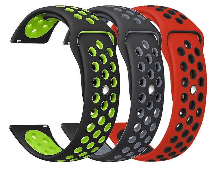 20 22mm Silicone Strap For Samsung Galaxy Watch 42 46 Active 2 Gear S2 S3 Huawei GT 2 Amazfit 2s 3 GTR GTS Pace Bip Sport Band
