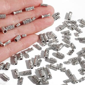 10-100pcs/lot Antique Silver Plated Hollow Curved Tube Spacer Beads Charms Connector For Jewelry Making DIY Bracelet Necklace - discount item  43% OFF Jewelry Making