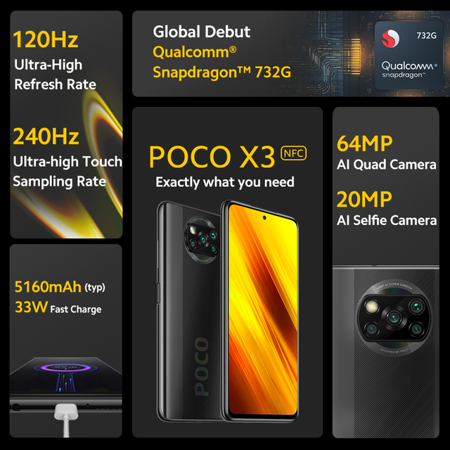 """Xiaomi POCO X3 NFC Global Version Smartphone Android  64GB 128GB Snapdragon 732G 64MP Camera 5160mAh 6.67"""" 120Hz  33W Charge 4"""