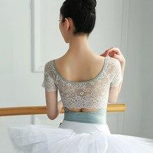 Leotardo de Ballet para mujer, traje de baño para adultos, ropa de baile de manga corta, de encaje, Gimnástico, bailarina, traje de baile clásico