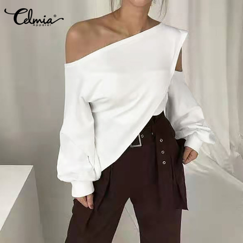 2020 Celmia Fashion Women Blouses Long Sleeve Hollow Tops Sexy One Shoulder Shirts Casual Solid Work Streetwear Blusas Femininas