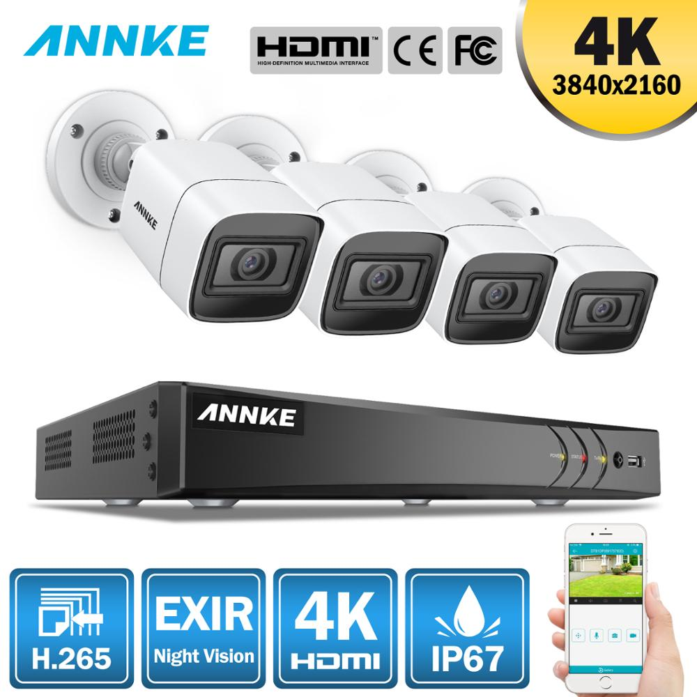 ANNKE 4K Ultra HD 8CH CCTV Security System 8MP 5in1 H.265 DVR With 4PCS 8MP Outdoor Weatherproof Video Surveillance Camera Kit