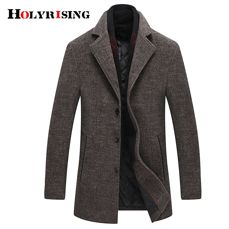 Holyrising Men Wool Coats Turn Collar Woolen Outerwear Warm Business Medium Overcoat Comfortbale Topcoats With Scarf 19008-5