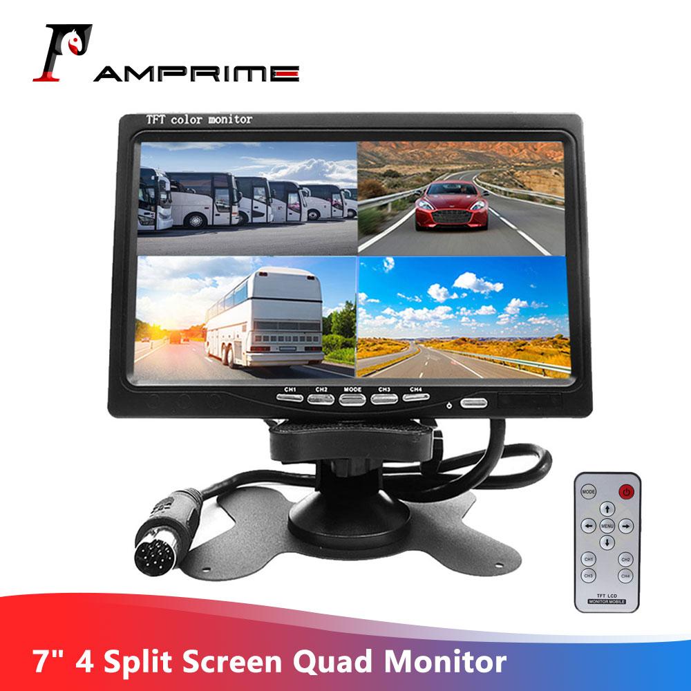 """7/""""Inch 4 Video Input 4 Split Quad Video Display HD TFT LCD Car Rear View Monitor"""