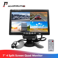 AMPrime 7 4 Split Screen Quad Monitor 4CH Video Input TFT LCD Display DC 12V for Reversing Camera System Car Rear view Monitor
