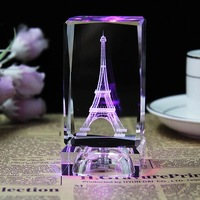Personalized Square Crystal Crafts Gifts LED Lighting Laser Engraved Friend Family Pictures Glass Ornaments for Home Decor