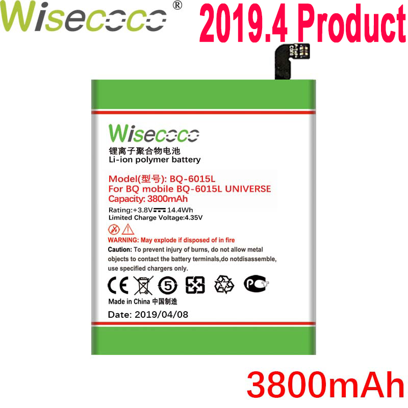 WISECOCO 3800mAh <font><b>BQ</b></font>-6015L Battery For <font><b>BQ</b></font> BQS 6015L Mobile Phone In Stock Latest Production High Quality Battery+Tracking Number image