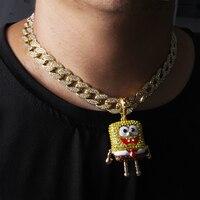 Men Hip Hop Iced Big SpongeBob Pendant With15mm 18 Full Iced Cuban Choker Chain Bling Necklace