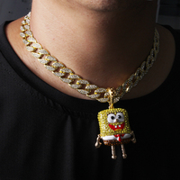 Men Hip Hop Iced Big SpongeBob Pendant With15mm 18 Full Iced Cuban Choker Chain Bling Necklace