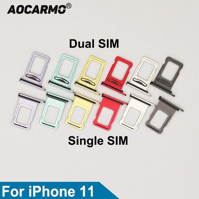 Aocarmo For iPhone 11 Single/Dual Metal Plastic Nano Sim Card Tray Slot Holder