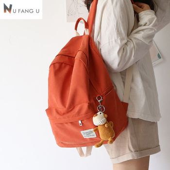 NuFangU  Classic Design Solid Color Cotton Fabric Women Backpack Fashion Girls Leisure Bag School Student Book Travel