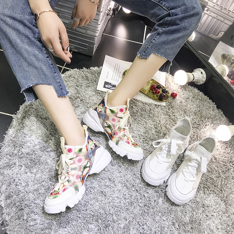 New Spring & Autumn Women Fashion Printed Flower Daddy Shoes Platform Sneakers Brand Trainers Thick Bottom Zapatos De Mujer