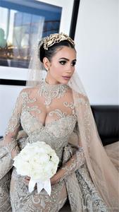 Image 3 - Luxury Crystal Beaded Mermaid Wedding Dresses With Detachable Train Sexy High Neck Long Sleeves Arabic Mulslim Bridal Gown
