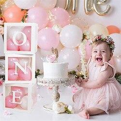 Детские Декорации для первого дня рождения, коробки с воздушным шаром для первого дня рождения с одной надписью для детского душа, для мальч...