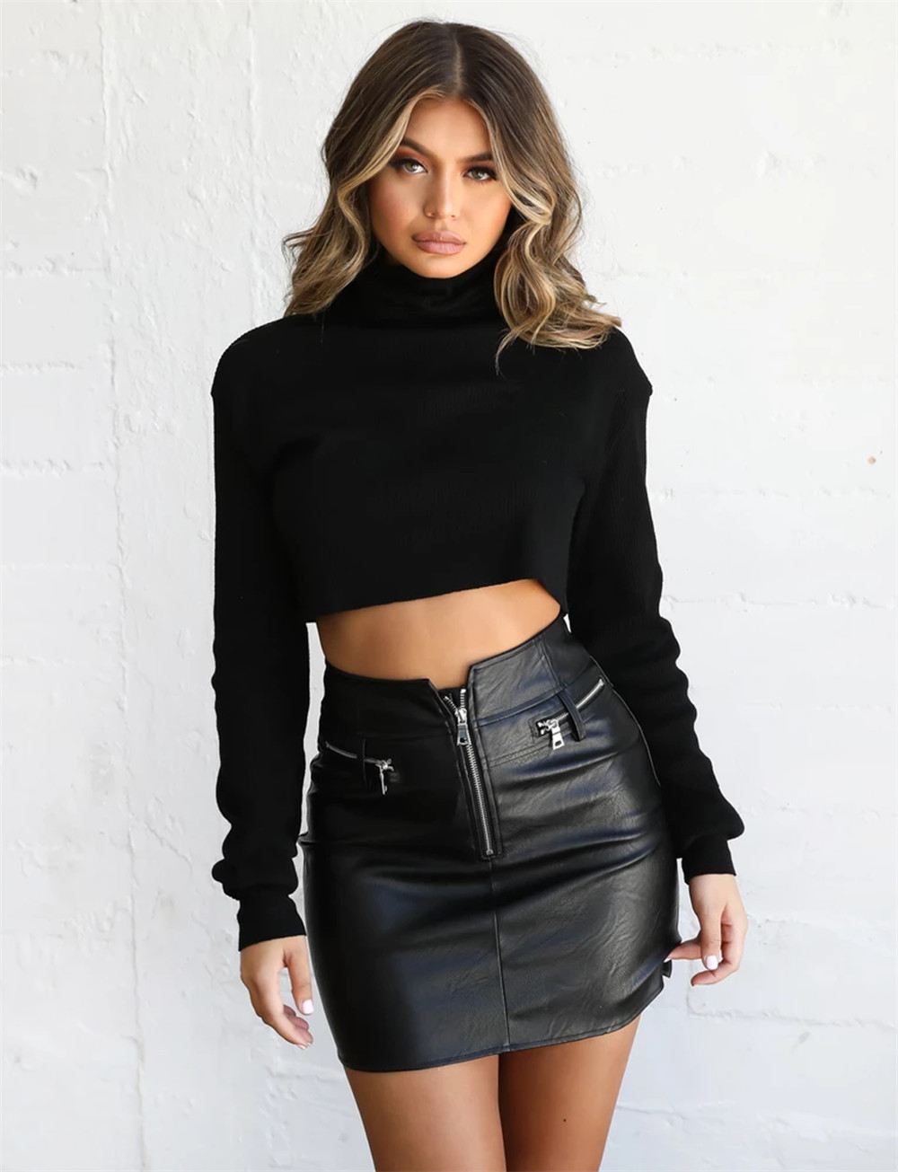 New Arrival Winter Women's Fluffy Sweater Jumper Long Sleeve Ladies Bodycon T Shirt Pullover Crop Tops High Neck Casual Tops