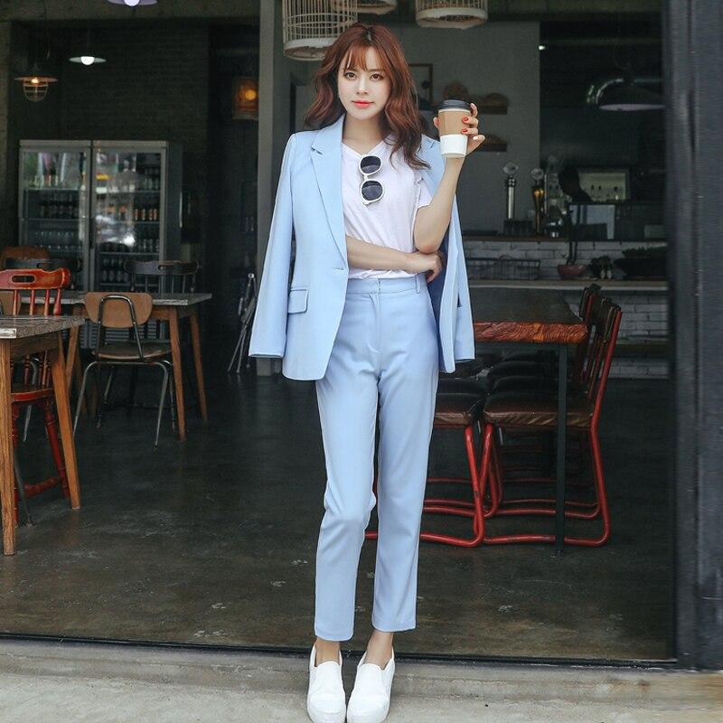 Women's Suits 2019 Autumn New Women's Korean Fashion Temperament Slim Small Suit Women's Jacket Wild Pants Suit High Quality