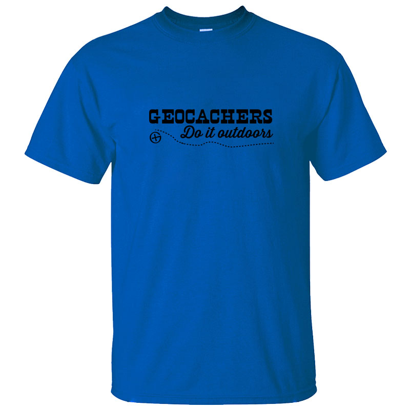Print Geocachers Do It Outdoors Mens Tshirt Gift Crew Neck Letter T Shirt For Men Women Solid Color Tee Top image